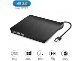 Cocopa External CD DVD Drive USB 3.0 Portable Drive Slim