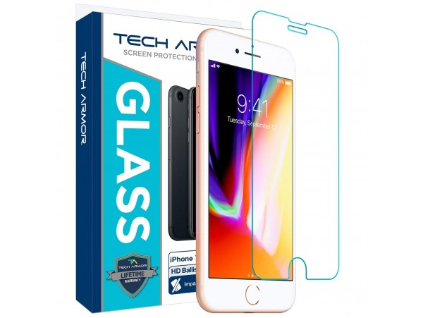 "Tech Armor iPhone 6  /  6S / 7 / 8  (4.7"") Ballistic Glass Screen Protector - Protect Your Screen from Drops - 99.99% Clarity and Touch Accuracy"